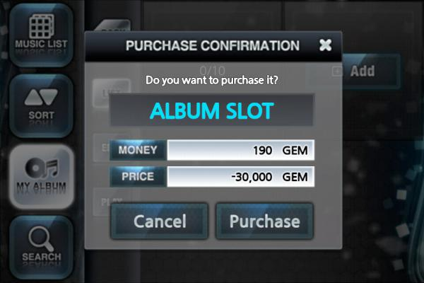 O2Jam U for iOS Buy More Album Slots