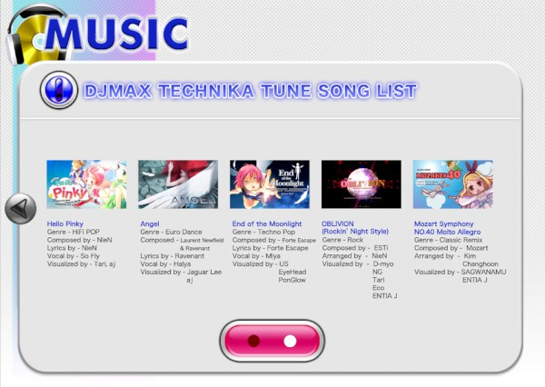 DJMax Technika Tune PS Vita Song List 1